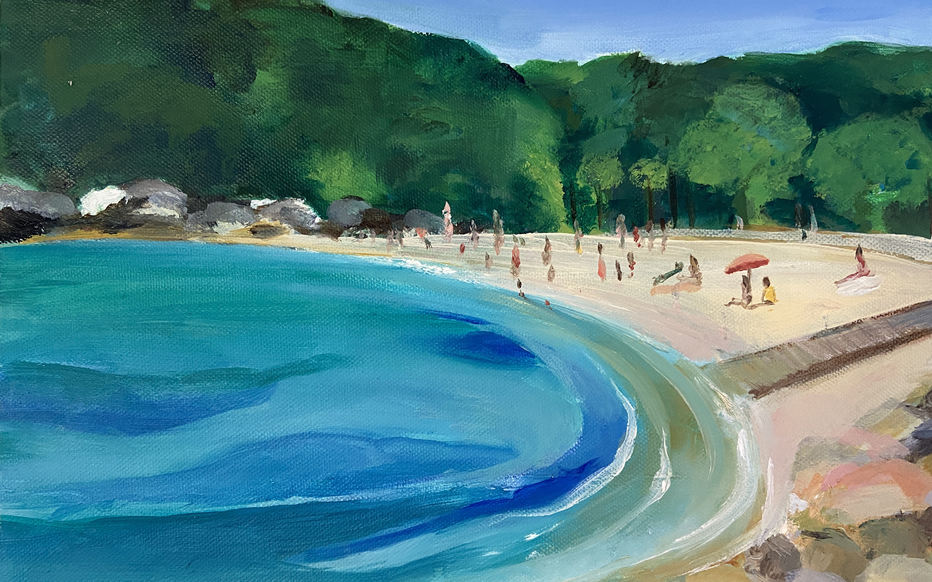 Shelly-Beach-Manly-oil-painting